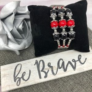 Jewelry - Black & Red 3 Strand Pewter Bracelet